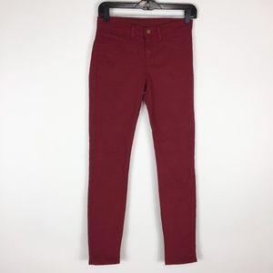 J BRAND Jeans 25 Skinny Leg Twill Black Cherry Red
